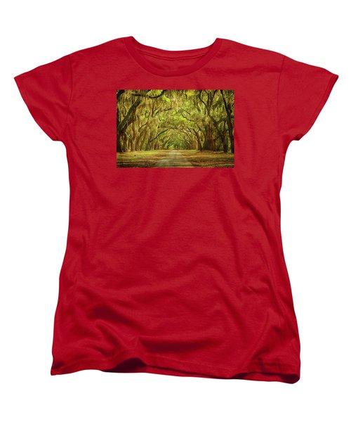 Wormsloe Plantation Oaks Women's T-Shirt (Standard Cut) by Priscilla Burgers