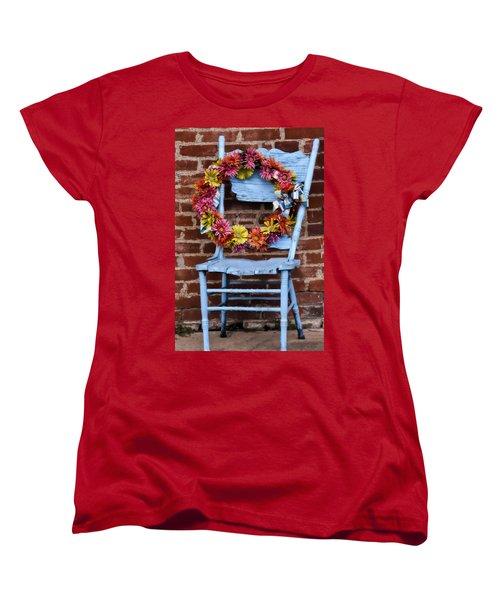 Women's T-Shirt (Standard Cut) featuring the photograph Wreath In A Chair by Joan Bertucci