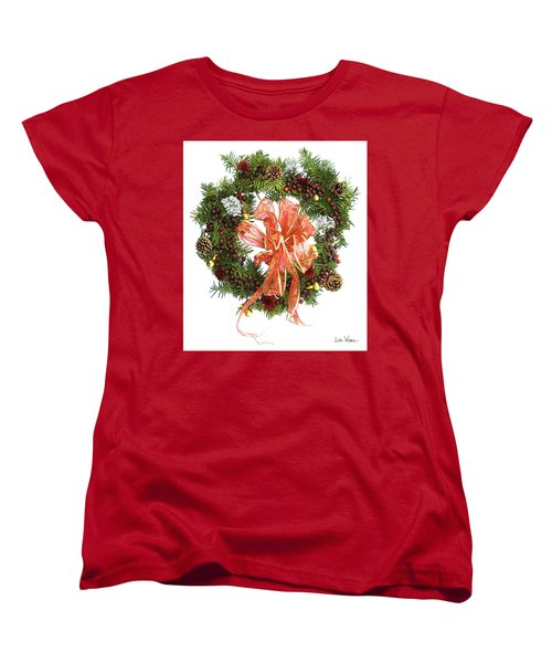 Wreath With Bow Women's T-Shirt (Standard Cut) by Lise Winne