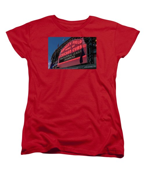 Wrigley Field Marquee Cubs National League Champs 2016 Women's T-Shirt (Standard Cut) by Steve Gadomski