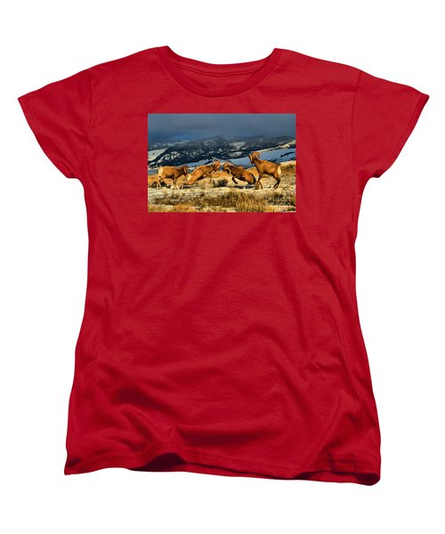 Women's T-Shirt (Standard Cut) featuring the photograph Wyoming Bighorn Brawl by Adam Jewell