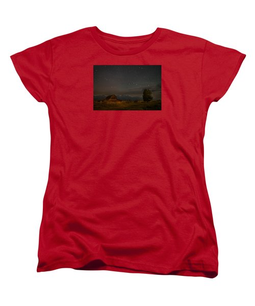 Wyoming Countryside At Night Women's T-Shirt (Standard Cut) by Serge Skiba