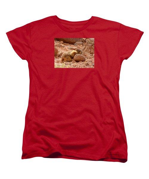 Women's T-Shirt (Standard Cut) featuring the photograph Yellow Bellied Marmot Capitol Reef Utah by Deborah Moen