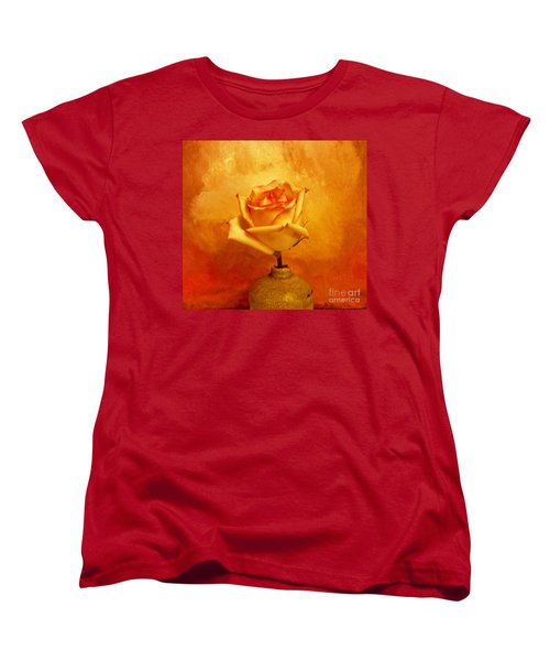 Yellow Red Orange Tipped Rose Women's T-Shirt (Standard Cut)