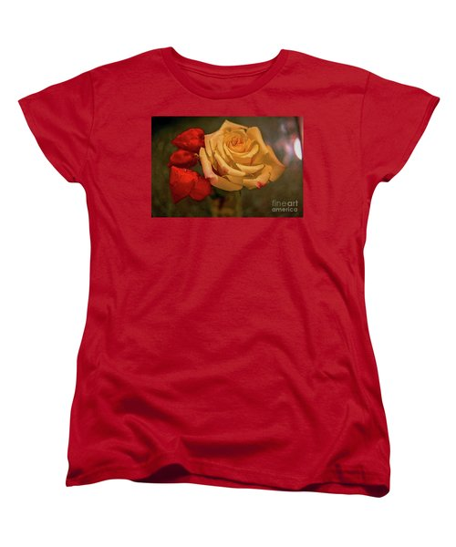 Women's T-Shirt (Standard Cut) featuring the photograph Yellow Rose And Chinese Lanterns by Diana Mary Sharpton