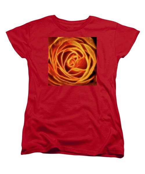Women's T-Shirt (Standard Cut) featuring the photograph Yellow Rose Glow Square by Terry DeLuco