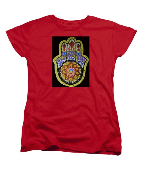 Women's T-Shirt (Standard Cut) featuring the painting Yellow Sun by Patricia Arroyo