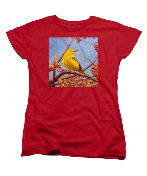 Women's T-Shirt (Standard Cut) featuring the painting Yellow Warbler by Joe Bergholm