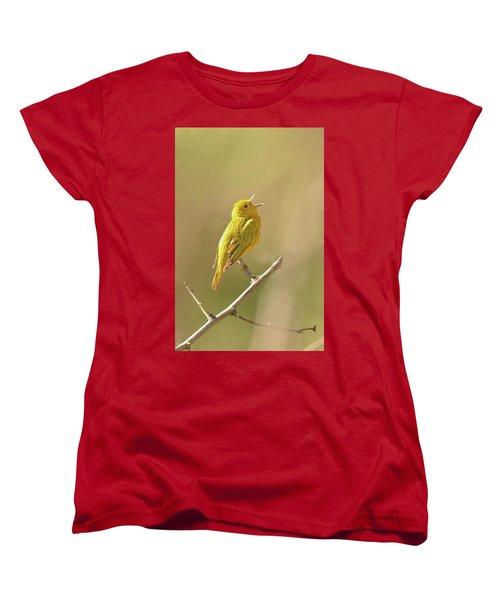 Yellow Warbler Song Women's T-Shirt (Standard Cut) by Alan Lenk