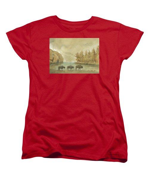 Yellowstone And Bisons Women's T-Shirt (Standard Cut) by Juan Bosco