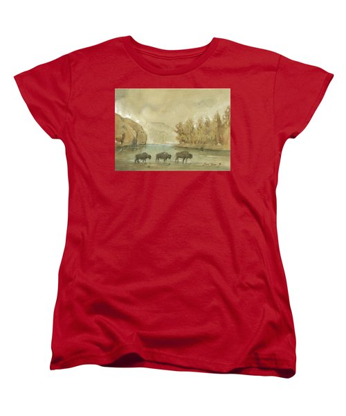 Yellowstone And Bisons Women's T-Shirt (Standard Cut)