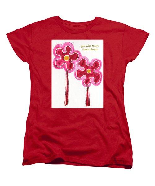 Women's T-Shirt (Standard Cut) featuring the drawing You Will Bloom Like A Flower by Frank Tschakert