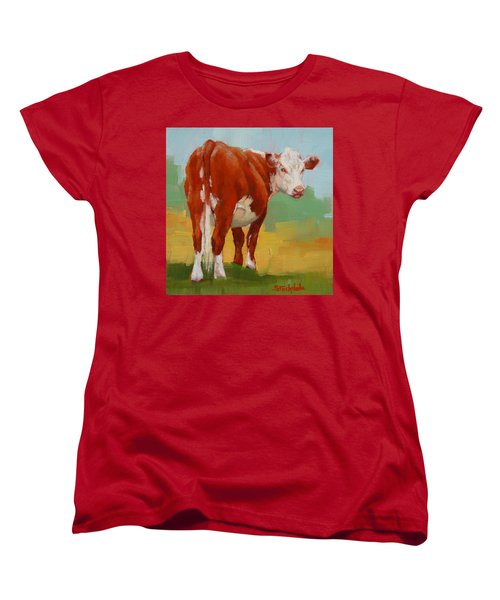 Women's T-Shirt (Standard Cut) featuring the painting Young Cow by Margaret Stockdale