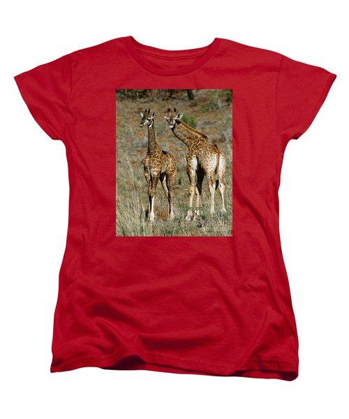 Women's T-Shirt (Standard Cut) featuring the photograph Young Giraffes by Myrna Bradshaw