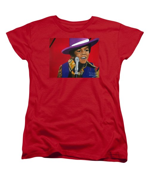 Young Michael Jackson Singing Women's T-Shirt (Standard Cut) by Chelle Brantley