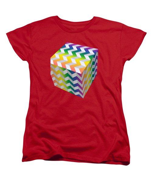 Zig Zag Cube Women's T-Shirt (Standard Cut) by Chuck Staley