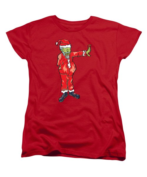 Women's T-Shirt (Standard Cut) featuring the drawing Zombie Santa Claus Illustration by Jorgo Photography - Wall Art Gallery