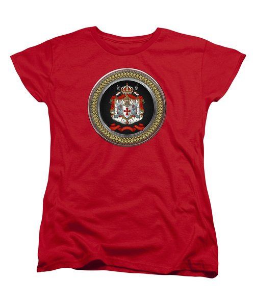 Knights Templar - Coat Of Arms Special Edition Over Red Leather Women's T-Shirt (Standard Fit)