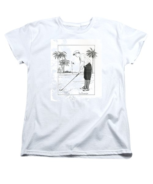 Women's T-Shirt (Standard Cut) featuring the drawing  1920's Vintage Golfer by Ira Shander