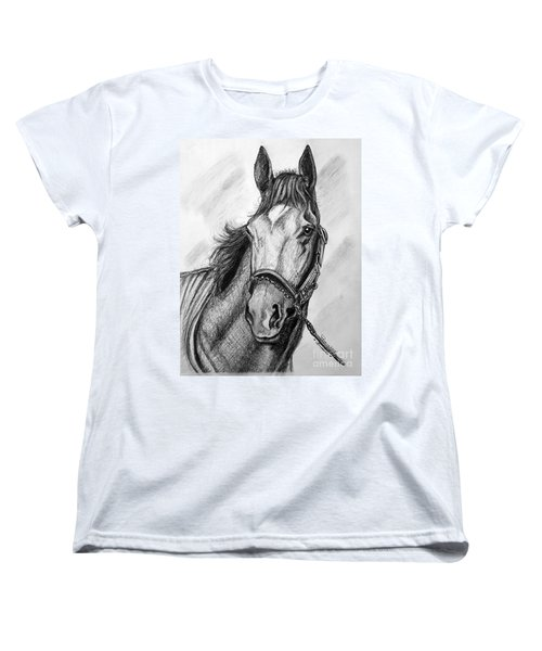 Women's T-Shirt (Standard Cut) featuring the drawing  Barbaro by Patrice Torrillo
