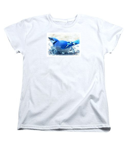 Bright Blue Jay  Women's T-Shirt (Standard Cut) by Peggy Franz