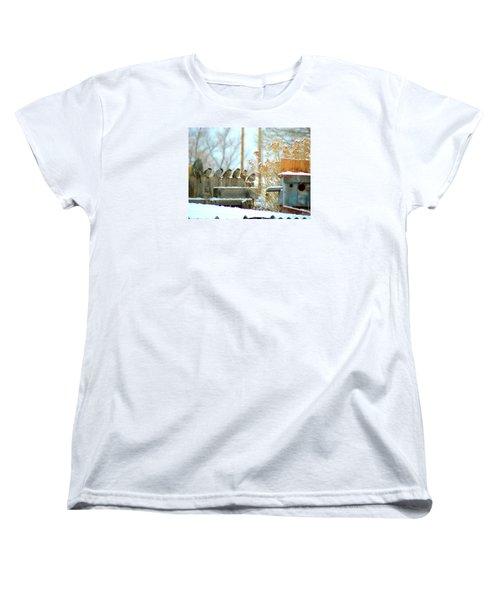 Women's T-Shirt (Standard Cut) featuring the photograph 7 Winter Sparrows by Deborah Moen