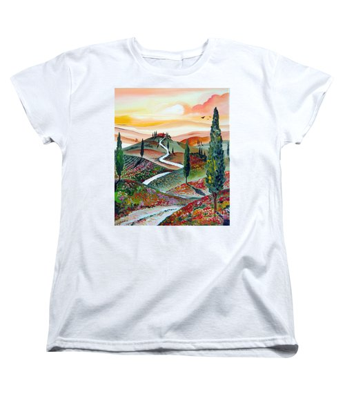 Women's T-Shirt (Standard Cut) featuring the painting  Winding Country Road Among The Hills Of Tuscany by Roberto Gagliardi