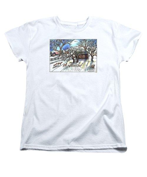Wyoming Winter Street Scene Women's T-Shirt (Standard Cut) by Dawn Senior-Trask
