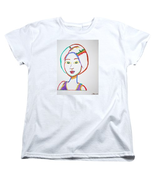 Women's T-Shirt (Standard Cut) featuring the painting Anime Asian Girl by Stormm Bradshaw