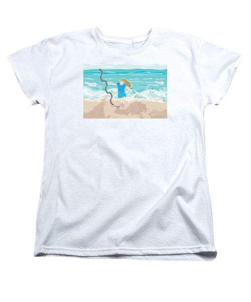 Women's T-Shirt (Standard Cut) featuring the digital art Beach Rainbow Girl by Kim Prowse