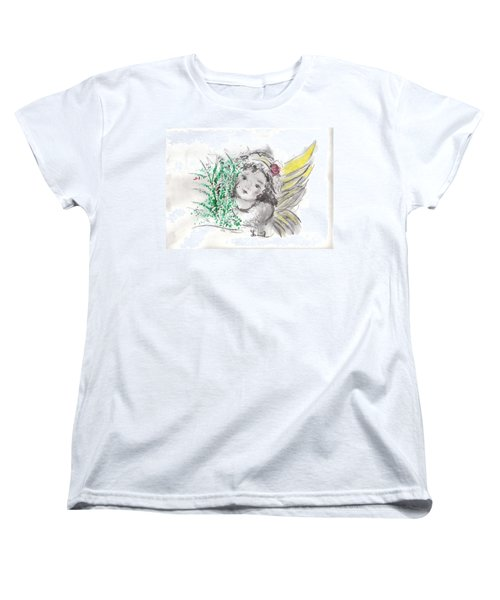 Christmas Angel Women's T-Shirt (Standard Cut) by Laurie L