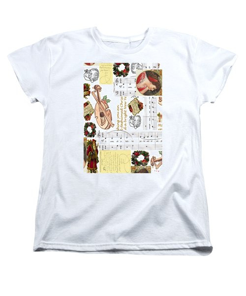 Women's T-Shirt (Standard Cut) featuring the digital art Christmas Collage by Sandy McIntire