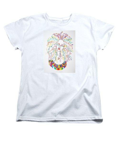 Women's T-Shirt (Standard Cut) featuring the painting Dreadlocks Piano Goddess by Stormm Bradshaw