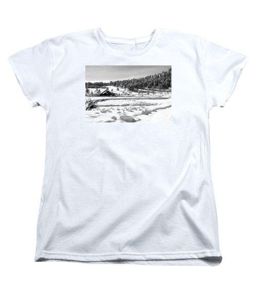 Women's T-Shirt (Standard Cut) featuring the photograph Evergreen Lake House Winter by Ron White