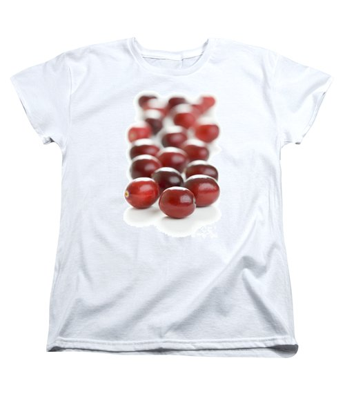 Women's T-Shirt (Standard Cut) featuring the photograph Fresh Cranberries Isolated by Lee Avison