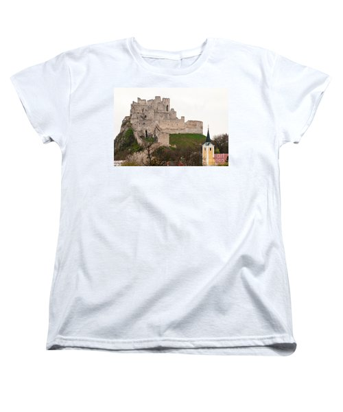 Women's T-Shirt (Standard Cut) featuring the photograph Hrad Beckov - Castle by Les Palenik