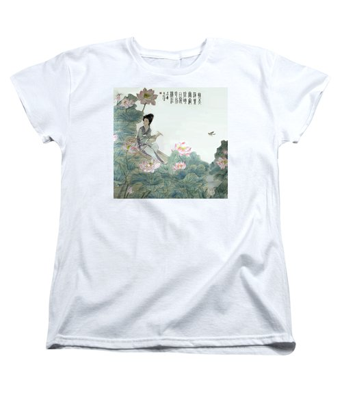 Lotus Pond Women's T-Shirt (Standard Cut) by Yufeng Wang
