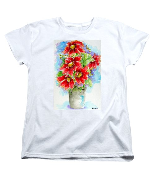 Women's T-Shirt (Standard Cut) featuring the painting Red Flowers by Patrice Torrillo