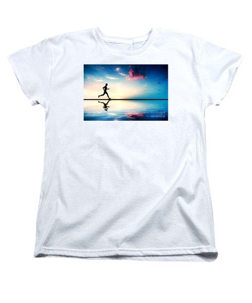 Silhouette Of Man Running At Sunset Women's T-Shirt (Standard Cut) by Michal Bednarek