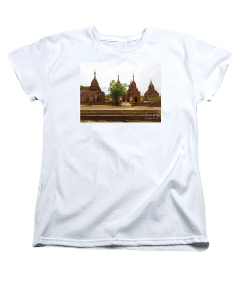 Women's T-Shirt (Standard Cut) featuring the photograph Smaller Temples Next To Dhammayazika Pagoda Built In 1196 By King Narapatisithu Bagan Burma by Ralph A  Ledergerber-Photography