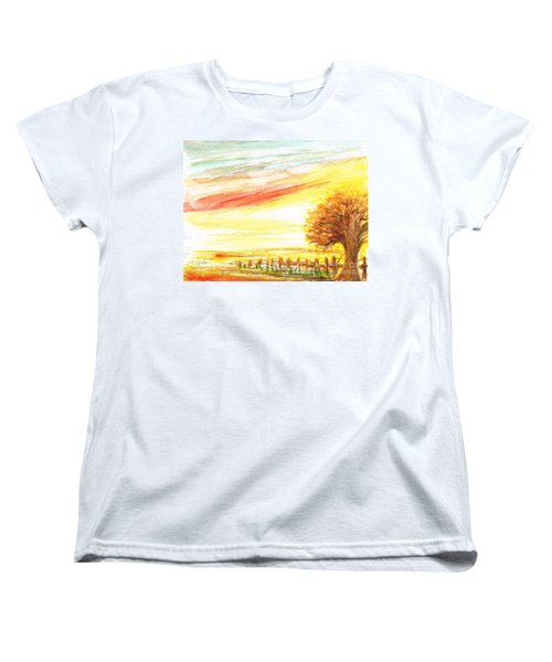 Women's T-Shirt (Standard Cut) featuring the painting Sunset by Teresa White