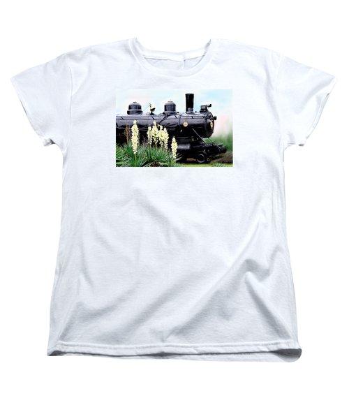 The Black Steam Engine Women's T-Shirt (Standard Cut) by Bonnie Willis