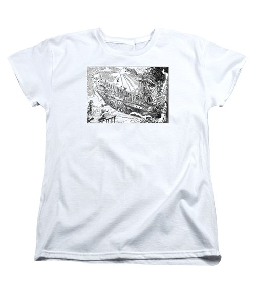 Women's T-Shirt (Standard Cut) featuring the drawing The Flying Submarine by Reynold Jay