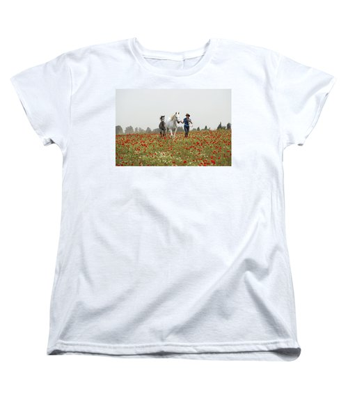 Three At The Poppies' Field... 3 Women's T-Shirt (Standard Cut) by Dubi Roman