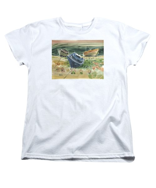 Women's T-Shirt (Standard Cut) featuring the painting Three Boats by Donald Maier