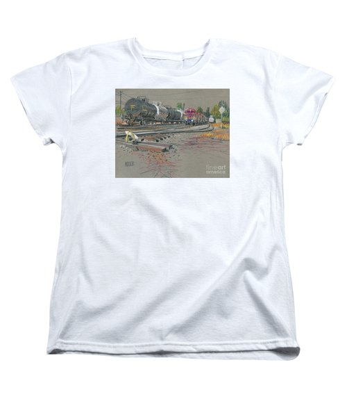 Women's T-Shirt (Standard Cut) featuring the drawing Train's Coming by Donald Maier
