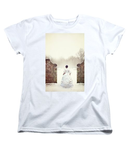 Victorian Woman In Snow Women's T-Shirt (Standard Cut) by Lee Avison