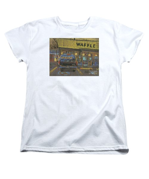 Women's T-Shirt (Standard Cut) featuring the painting Waffle House by Donald Maier