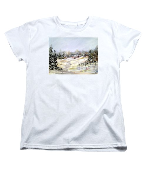 Women's T-Shirt (Standard Cut) featuring the painting Winter At The Farm by Dorothy Maier