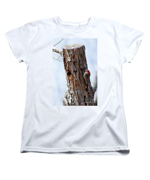 Woodpecker And Starling Fight For Nest Women's T-Shirt (Standard Cut) by Gregory G. Dimijian